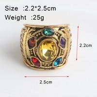 RJ Hot Sale Gold Thanos Rings Infinite Power Gauntlet Crystal Ring Avengers 3 Infinity War Cosplay Anillo Women Men Keyring Gift 1