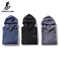 Pioneer Camp New Solid Fleece Warm Hoodies Men Brand Clothing Thick Winter Hooded Sweatshirt Male Quality