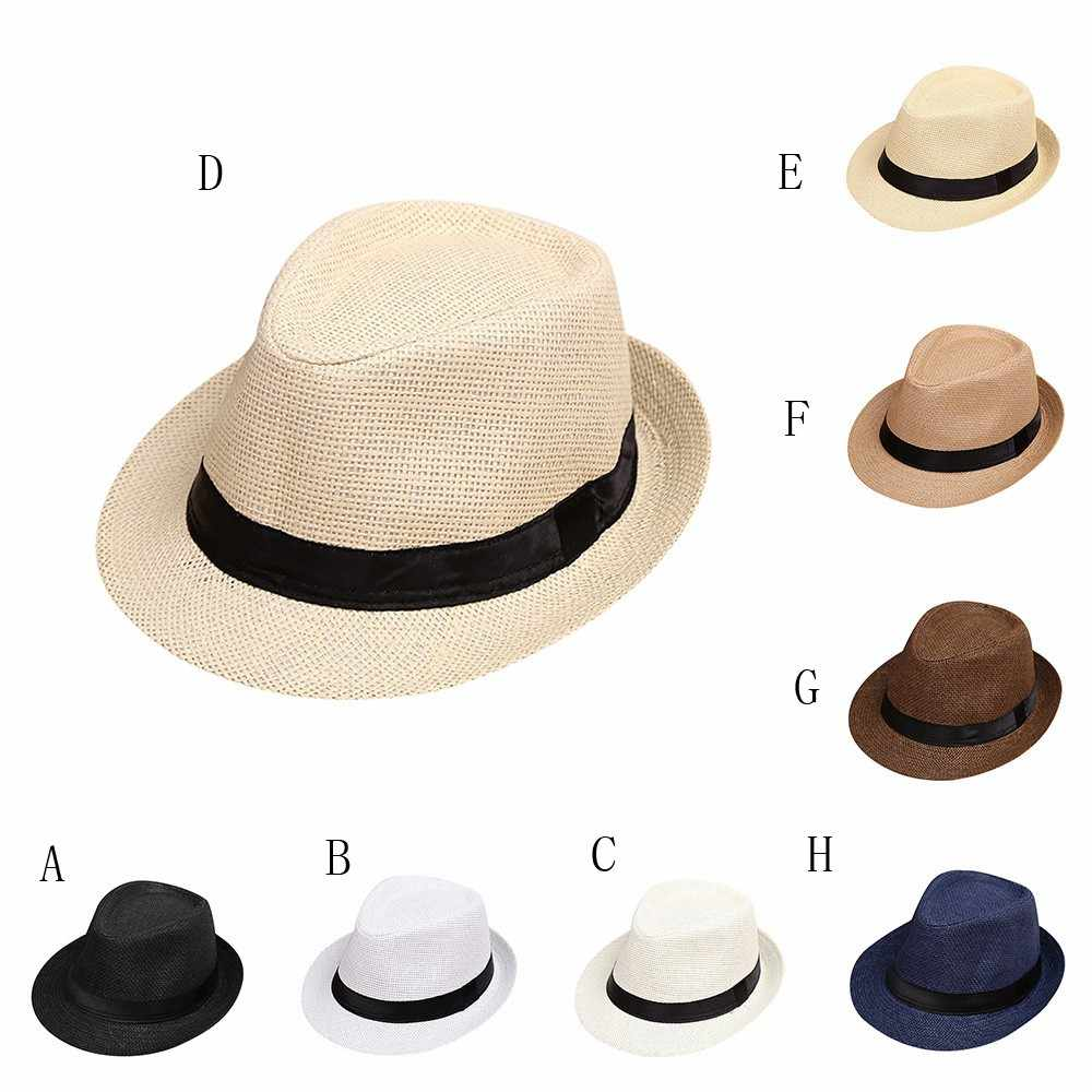 Children Kids Summer Beach Straw Hat Jazz Panama Trilby Fedora Hat Gangster Cap Lovely Soft Hat party baby hair accessories new