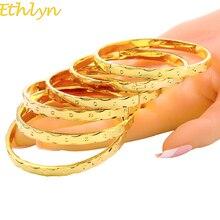 Ethlyn 6pcs/lot Dubai Gold Jewelry Gold Color Women Bangles For Ethiopian Bangles&Bracelets Africa Arab Bangles Jewelry B053