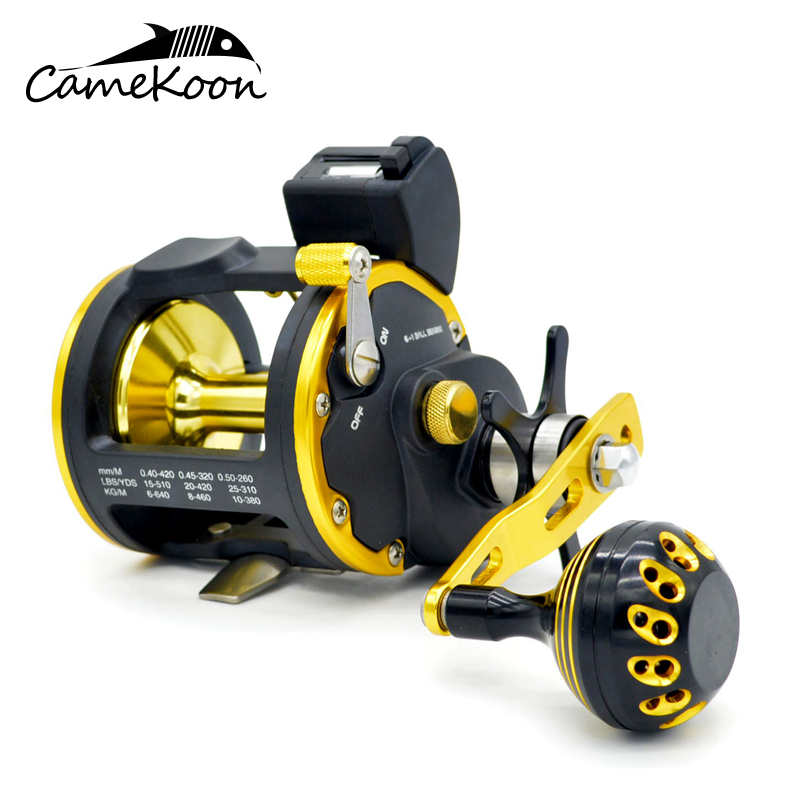 CAMEKOON Saltwater Level Wind Reels with Line Counter Trolling Boat Fishing Reel Left/Right Hand camekoon deep sea fishing reel with line counter 15kg drag power trolling reels saltwater reels