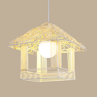 Bamboo Chandeliers Iron Led Chandeliers Bedroom Living Room Study Lighting Pendant Lamps Decoration Hanging Hanglamps Luminaria