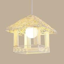 Bamboo Chandeliers Iron Led Bedroom Living Room Study Lighting Pendant Lamps Decoration Hanging Hanglamps Luminaria