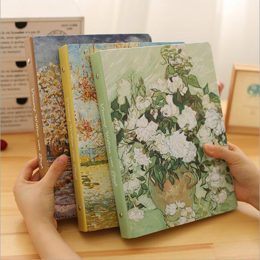 A4 Painting Cover Spiral Notebook With Line Filler Papers Office School Schedule Stationery Supplies Planner Daily Memos Diary 1pc lot cute rabbit design memo pad office accessories memos sticky notes school stationery post it supplies tt 2766