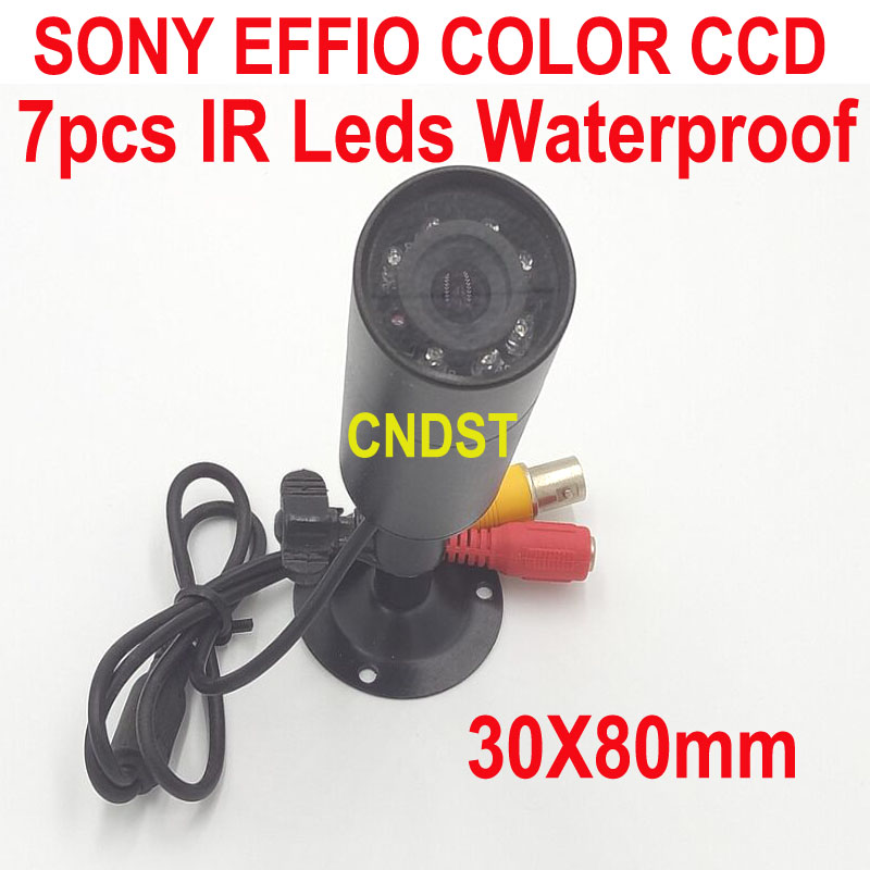 CNDST CCTV Sony E-ffio Color CCD Mini Bullet Square Camera IR Waterproof IP66 7PCS IR Leds Nightvision With f3.6mm Board Lens
