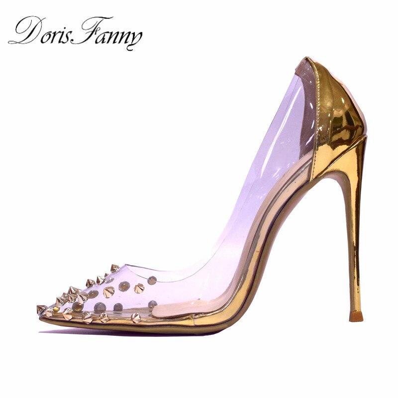 Doris Fanny Oro Pompe scarpe da donna 2019 primavera trasparente delle signore di nozze scarpe con tacchi a spillo Dargento tacchi altiDoris Fanny Oro Pompe scarpe da donna 2019 primavera trasparente delle signore di nozze scarpe con tacchi a spillo Dargento tacchi alti