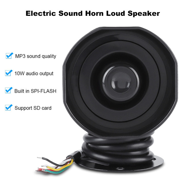 Electronic Sound Horn Loud Speaker Truck Warehouse Alarm Siren Support MP3 Playback SD Card IP65 Level Protection