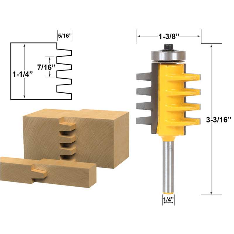 1/4 Shank Rail Reversible Finger Joint Glue Router Bit Tenon Woodworking DIY Milling Cutter Power Tool P20 high grade carbide alloy 1 2 shank 2 1 4 dia bottom cleaning router bit woodworking milling cutter for mdf wood 55mm mayitr