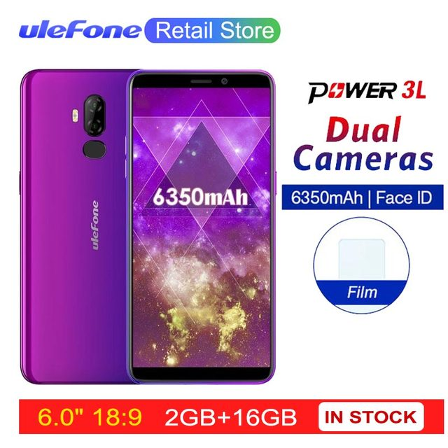 "Ulefone Power 3L 6.0"" HD+ Android 8.1 Mobile Phone MTK6739 Quad Core 2GB+16GB 13MP+5MP Camera 6350mAh Face ID 4G Smartphone"