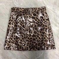 Новое поступление 2019 трапециевидная юбка элегантная женская юбка мини кожаная повседневная женская леопардовая юбка с высокой талией коро