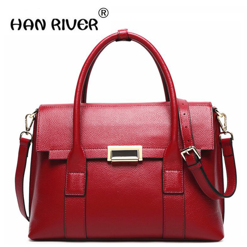 HANRIVER2018European and American new leather bag lady bag lady 100 lap top layer of leather shoulder bag and shoulder bag whole qiaobao 2018 new korean version of the first layer of women s leather packet messenger bag female shoulder diagonal cross bag