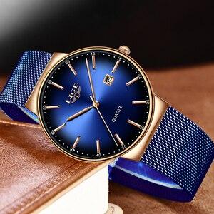 Image 2 - LIGE nowe męskie zegarki Top marka luksusowa modna siatka zegarek na pasku mężczyźni wodoodporny zegarek na rękę analogowy zegar kwarcowy erkek kol saati