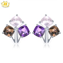 Hutang Colorful Gemstone Hoop Earrings 925 Sterling Silver Natural Amethyst Rose Smoky Quartz English Lock Jewelry for Women New