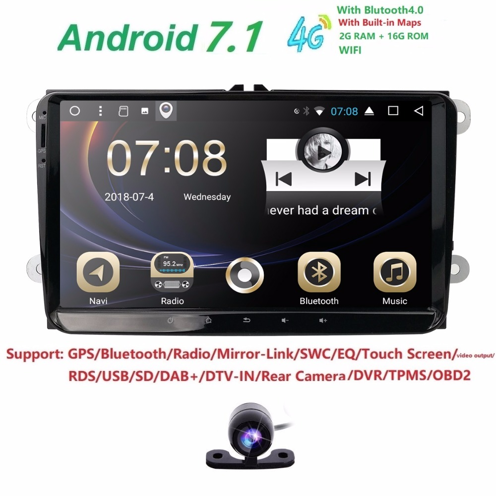 """9"""" Android 7.1 1024*600 screen Quad core 2 DIN car gps radio for"""