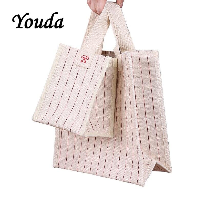 Youda Korea Waterproof Canvas Handbag Simple Embroidery Striped Shoulder Bag Two Sizes Optional Diagonal Shopping Bags