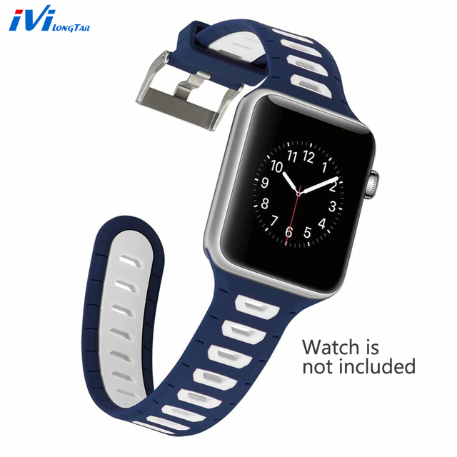 huge selection of 92581 14af9 US $8.99 |Sport Watchbands for Apple iPhone Watch 42mm 38mm Band for iWatch  Series 3 2 1 Watchband Waterproof Strap Rubber Cover Silicone-in Smart ...