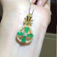 2017 Qi Xuan_Fashion Jewelry_Colombia Green Stone Violin Necklaces_S925 Solid Silver Pendant Necklaces_Factory Directly Sales