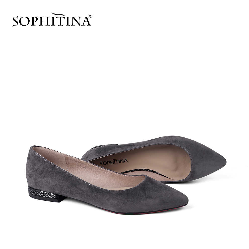 SOPHITINA Elegant Genuine Leather Women's Flats Autumn Soft Shallow Low Heel High Quality Shoes Slip On Casual Wedding Flats P1