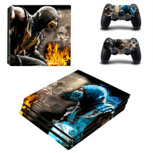 Game Mortal Kombat PS4 calcomanía de recubrimiento adhesivo profesional para consola PlayStation 4 y 2 controladores, recubrimiento adhesivo profesional de vinilo para PS4