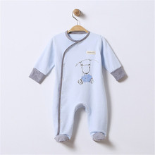 Baby Footed Pajamas with Mitten Cuffs Blet Closure 100% Cotton Solid Color Soft Cute Footies Sleepers 0-3 Months