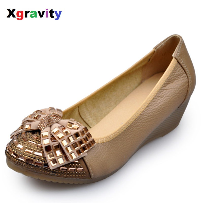High Quality Autumn Crystal High Heel Wedge Shoes Round Toe Casual Woman Shoes Simple Butterfly Knot Shoes Women Footwear C004 nayiduyun women genuine leather wedge high heel pumps platform creepers round toe slip on casual shoes boots wedge sneakers