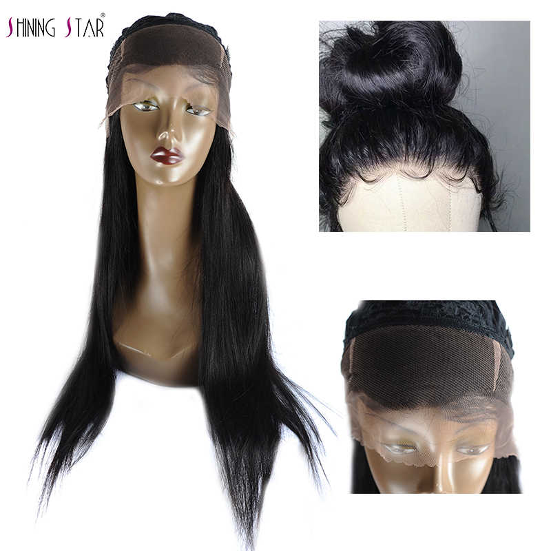 360 Lace Frontal Wig Pre Plucked With Baby Hair Brazilian Straight Full Lace Human Hair Wig For Black Women Shining Star NonRemy
