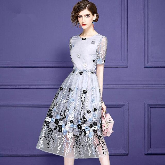 b5bad3af58 Odzież damska Europa Styl Vintage Nowa Moda Lato Krótkie Rękawy Mesh Dress  O-neck Kwiaty