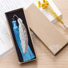 Office School Supplies - Labels  - EZONE Chinese Style Tassel Feather Bookmarks Alloy Metal Exquisite Packaging Students Gifts School Office Supplies Stationery