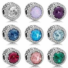 925 Sterling Silver Bead Radiant Hearts With Multicolor Crystal Beads Clip Lock Stopper Charms Fit Pandora Bracelet DIY Jewelry