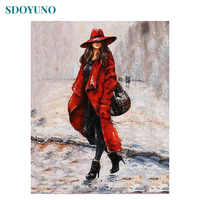 SDOYUNO 60X75cm oil painting by numbers Women in Red DIY Figure Painting on canvas Frameless Wall Decor Paint By Numbers