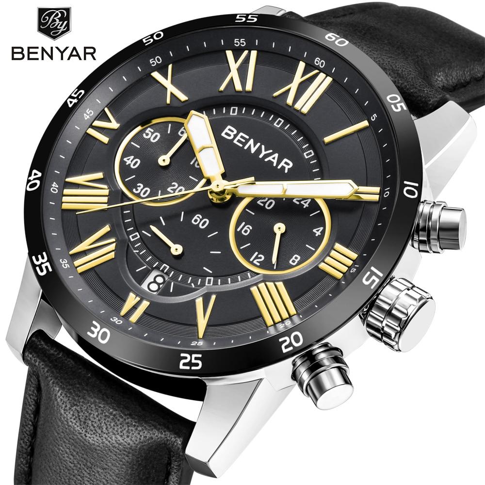 Reloj Hombre 2018 Top Brand Luxury BENYAR Fashion Chronograph Sport Mens Watches Military Quartz Watch Clock Relogio Masculino