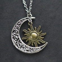 Supernatural Necklace For Women Bijoux Vintage Silver Crescent Moon Star Sun Owl Pendant Necklace Colar Choker Witch Protection(China)
