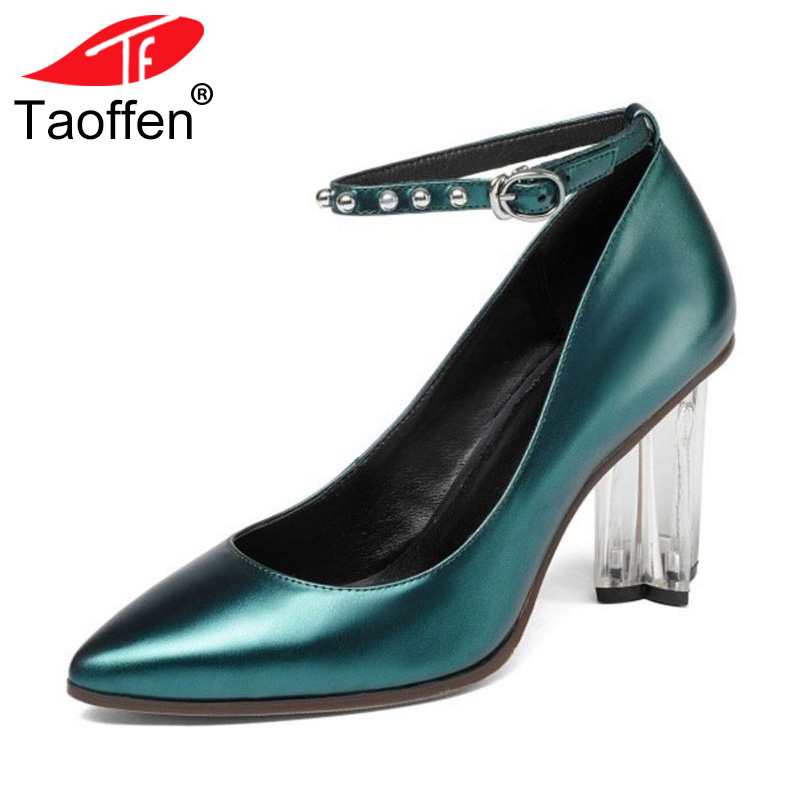 TAOFFEN Size 34-39 Women Genuine Real Leather High Heels Pumps Women Sexy Pointed Toe Ankle Strap Shoes Women Party Crystal Heel ladies real leather high heels pumps pointed toe sexy thin high heeled shoes women shine wedding party footwears size 34 39