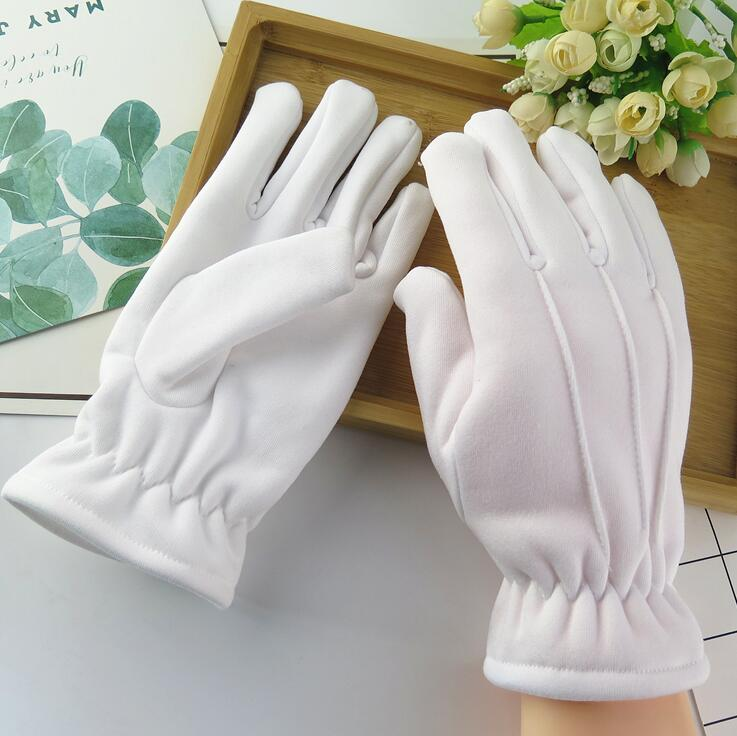 Men And Women's Winter Thicken Thermal Warm White Color Cotton Etiquette Gloves Winter Thicken White Cotton Glove R223
