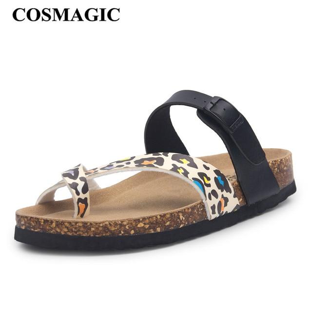 COSMAGIC 2018 New Beach Cork Slipper Flip Flops Shoes Summer Women Mixed  Color Casual Slides Shoes Flat with Plus Size 39072edc0142