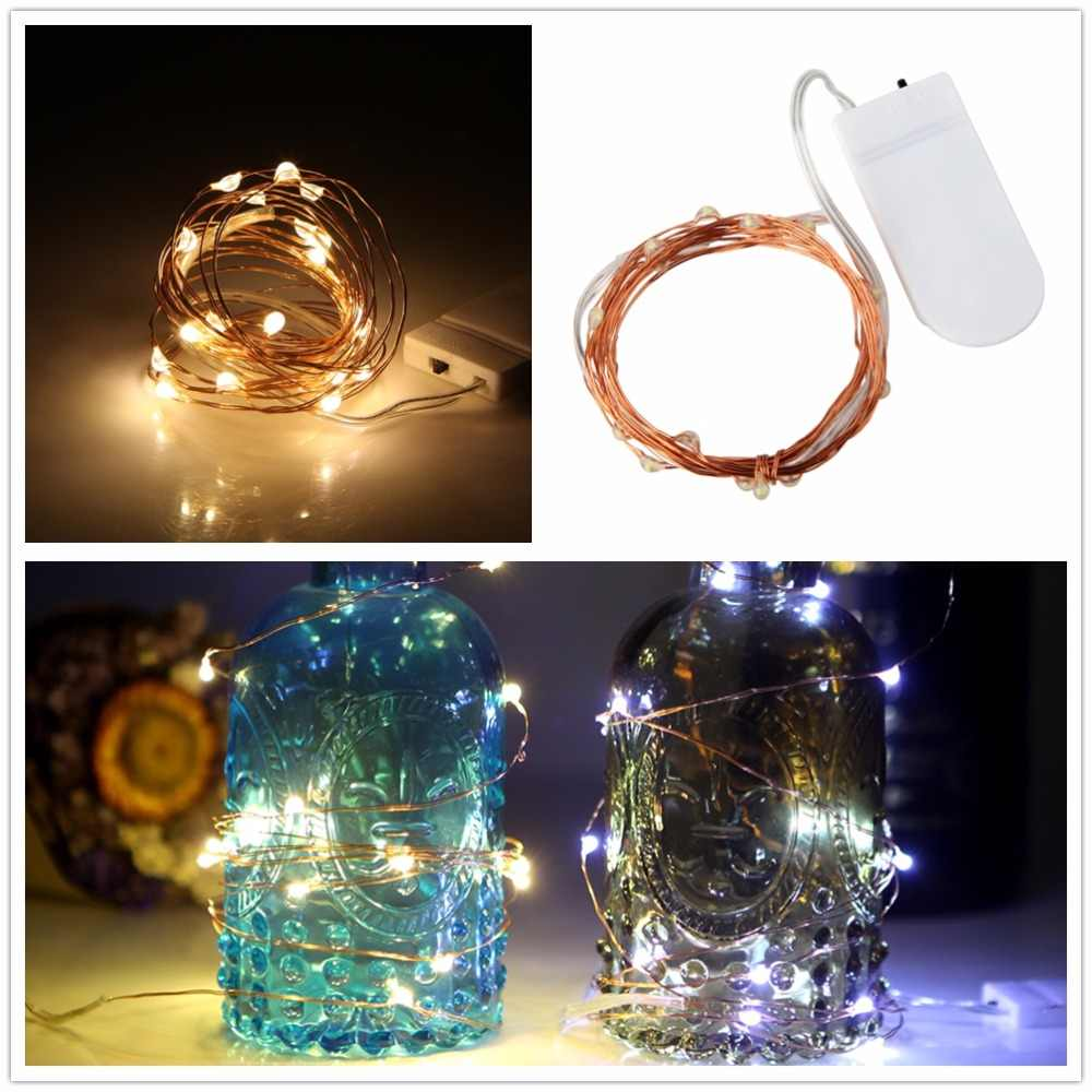 Copper Led Fairy Lights 1M 10LEDS Christmas Lamp CR2032 Button Battery Operated LED String Light for Xmas Wedding Decoration