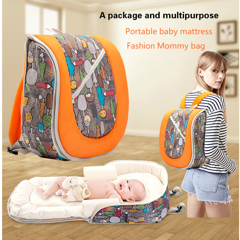 Portable Baby Bed Crib Outdoor Folding Bed Travel Baby Diaper Bag Baby Mattress Pregnant Woman Package Nappy Nursing Backpack cute baby crib 4pcs portable comfortable babies pad with sealed mosquito net mattress pillow mesh bag newborn sleep travel bed