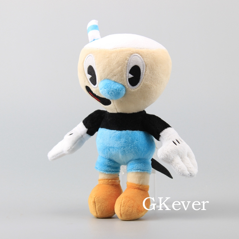 """10 Pcs/Lot Cuphead Game Figure Mugman Mecup And Brocup Plush Toy 9"""" 23 cm Children Gift 3"""