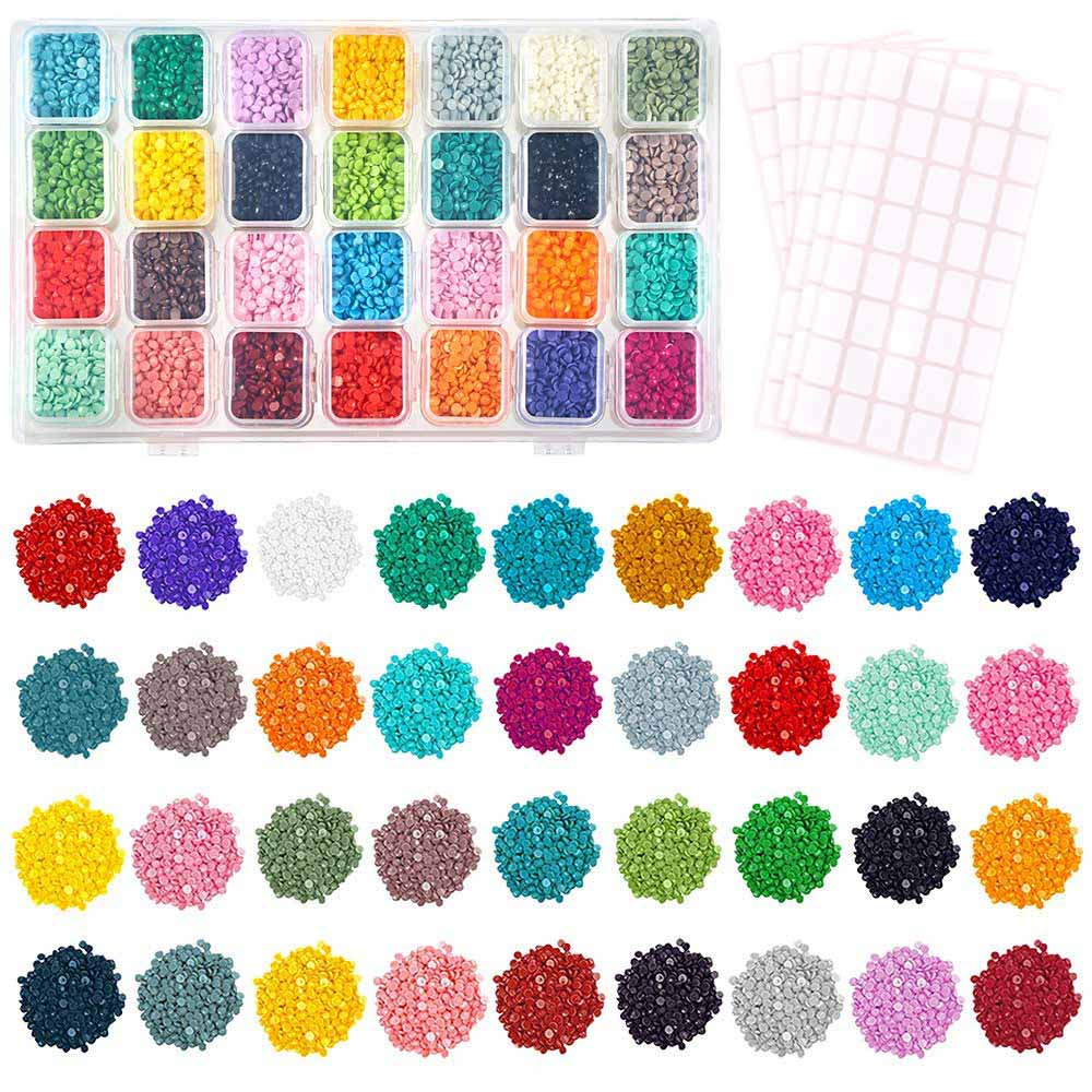 28 Colors Diamond Painting Accessories Replacement Square Diamonds With Grids