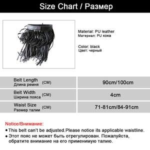 Image 5 - Western Punk Boho Style długie pasy Tassel dla kobiet pas kobiet czarne skórzane pasy dziki spódnica styl wysoki pas biodrowy