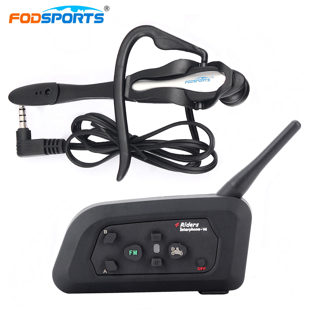 V4 BT Intercom Full Duplex Wireless Bluetooth Headsets Interphone for Football Basketball Coach Max 1200M Range With Radio