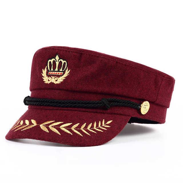 97c0d23a3 TUNICA 2017 Vintage warm hat Men Women Autumn Winter Flat Military berets  Captain Adjustable Sailor Caps Navy cap Hats