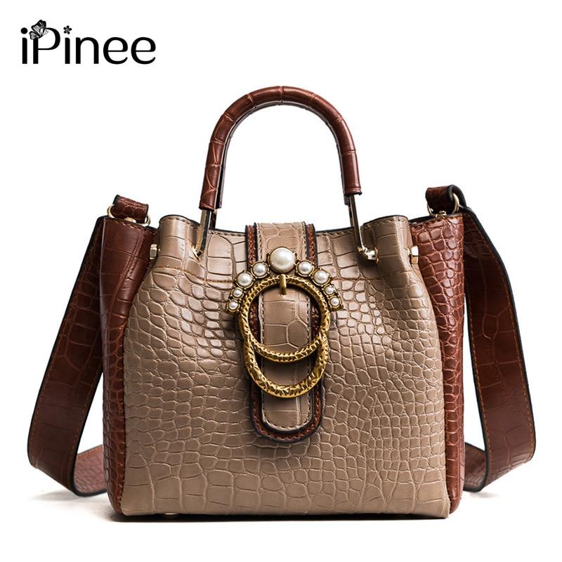 iPinee Women Leather Handbag Snake Pattern Purses Handbag Composite Bag Hit Color Solid Ladies Hand Bag Shoulder Woman Bag