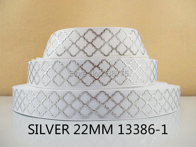 10Y13386 free shipping 7/8'' silver polyester printed Grosgrain diy headwear gift wrapping...