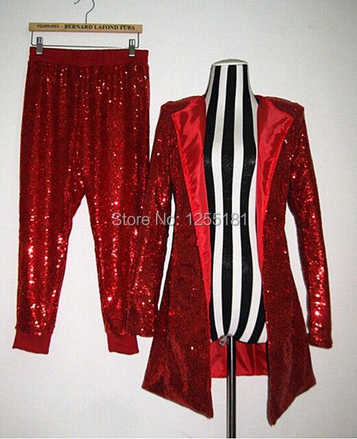 Сексуальный женское красный блёстки длинная костюм свободного покроя брюки комплект костюм приталенный сцена характеристики подиум одежда