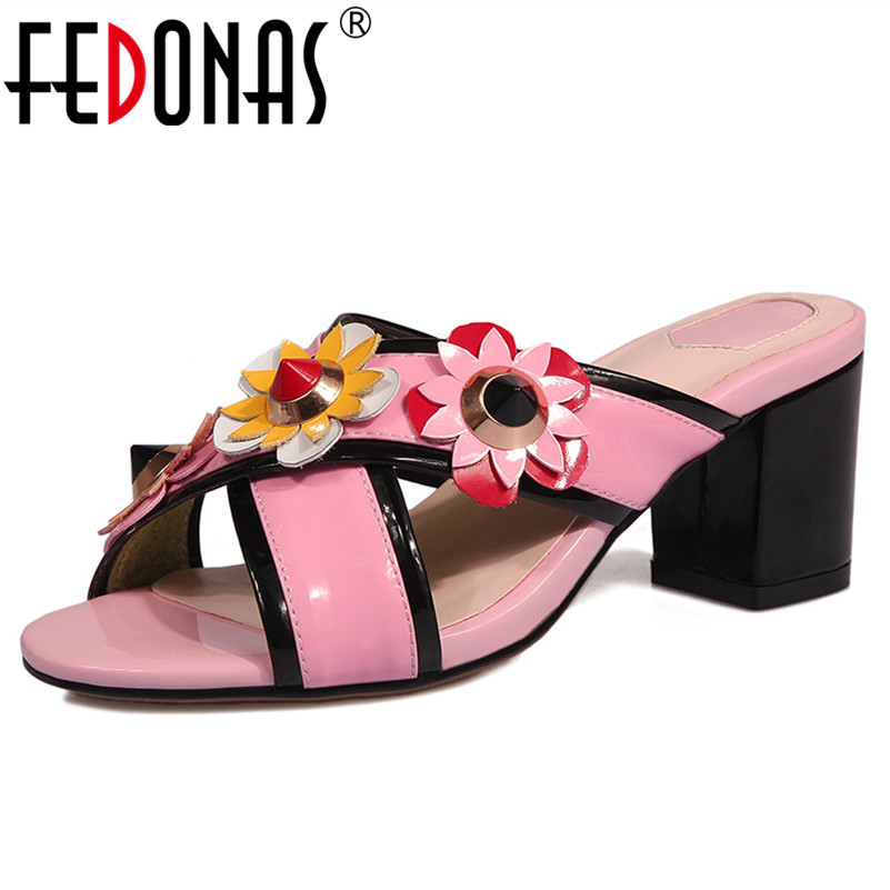 FEDONAS Women Sandals Fashion Flowers Slippers Cute Sweet Prom Wedding Party Shoes Woman Genuine Leather Pumps