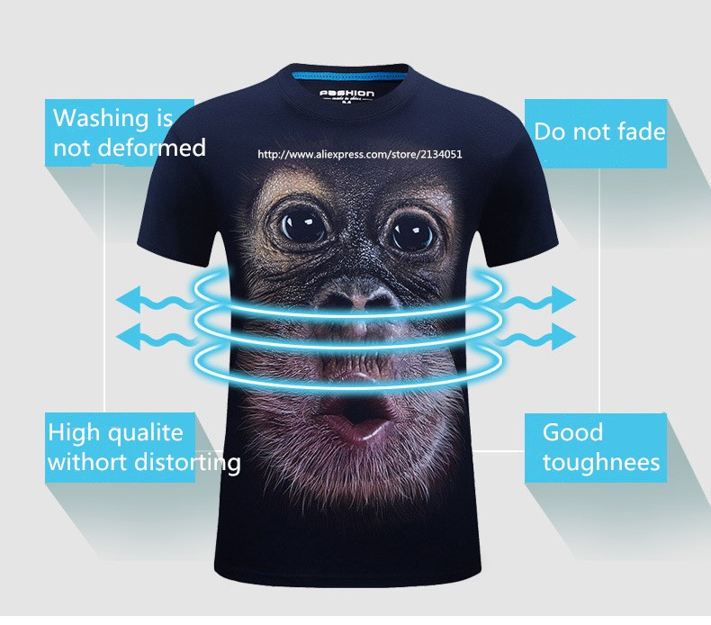 лето 2016 мужская брендовая одежда с короткими рукавами и круглым вырезом животных футболка газ обезьяна/лев в 3D цифровые печатные футболка мужчин большие размеры