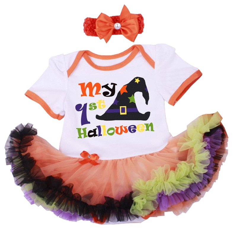 My 1st Halloween Costumes Infant Party Dress Headband Vestido Bebe Fashion Girls Witch Hat Romper Outfits Toddler Girl Clothing