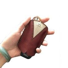 High Quality Handmade cow genuine leather car key holder smart organizer keychain pouch new bag 2019 business clip llavero cuero