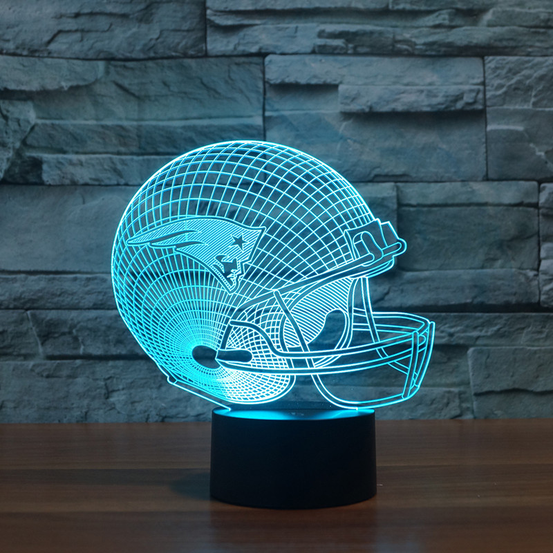 3D Atmosphere lamp Football Helmet 7 Color Changing Visual illusion LED Decor LampHome Table Decoration for Child Gift
